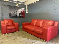 STUNNING HARVEYS RED LEATHER SOFA SET IN EXCELLENT CONDITION 3+1 seater