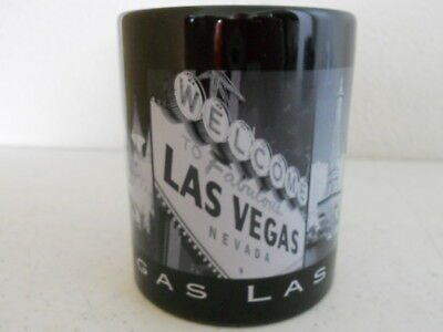 LAS VEGAS Souvenir Coffee Cup Mug Black with 9 Pictures of Famous Attractions