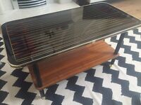 Vintage Retro Coffee Table with Inlay, Glass Top and Wood - Antique Table