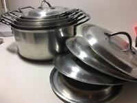 Set of 5 aluminium kitchen king saucepans