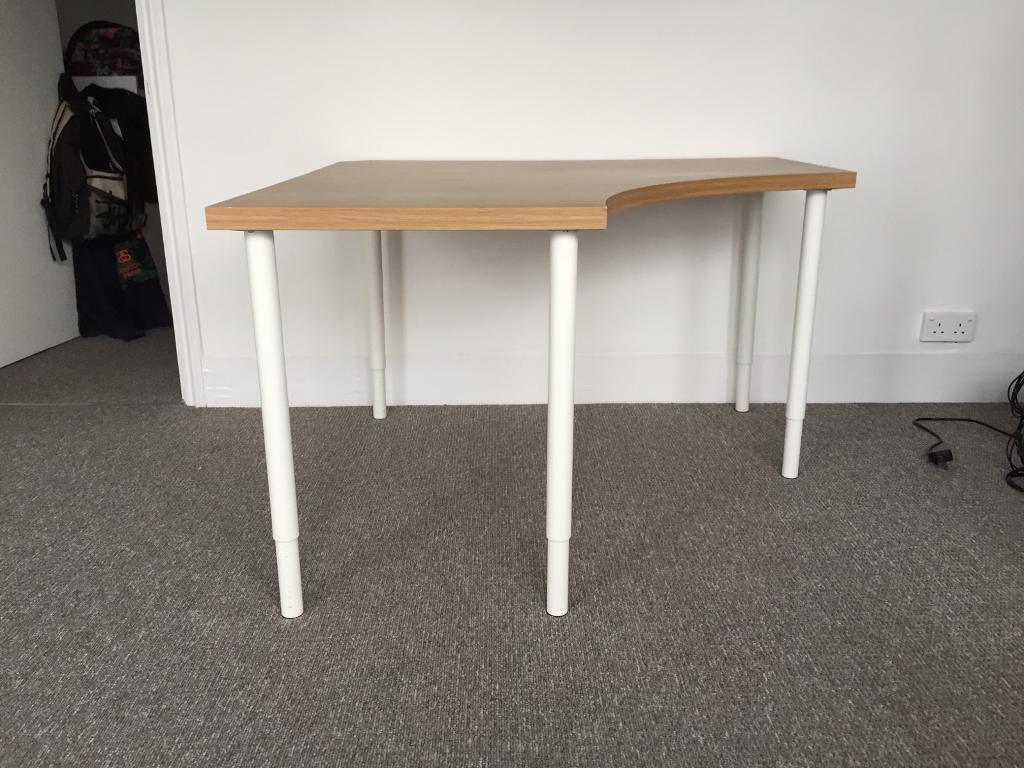 Ikea linnmon oak corner table with olov adjustable legs in