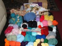 Job lot loads of wool knitting needles patterns knitting bag and wicker basket for storing wool in