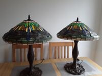 Pair large tiffany style lamps & pair small tiffany style lamps