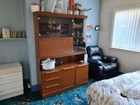 Display Cabinet with 3 drawers, Flip down shelf, 2 large storage areas with shelfs