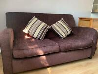 2 seater, brown sofa bed