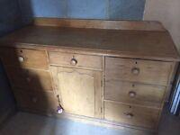 Antique stripped pine large kitchen dresser