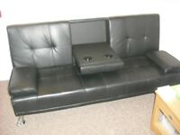 Black faux leather clic clac sofa bed