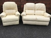 Two pieces leather suite, two seater sofa, couch, settee, single recliner chair(free local delivery)