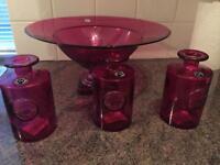 Pink glass Kitchen Accessories
