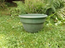 Elegant Green Glazed Ceramic Garden Planter 17cm Tall