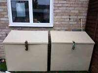 2 metal storage boxes