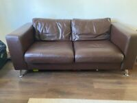 2 seater brown leather sofa set