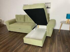 CORNER SOFA BED LIGHT GREEN