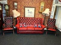3+1+1 Extreme Rare Chesterfield Thomas Lloyd 3 Piece Suite Settee Sofa And Rocking Chairs Oxblood R