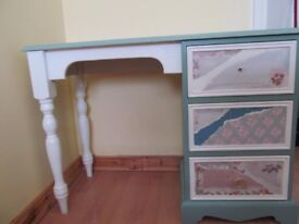 Pine upcycled desk/dressing table very cheap for quick sale also pine bedside table, job lot £20