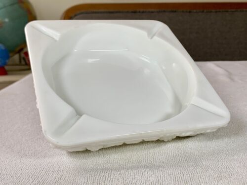 Large White Square ASHTRAY Paneled Grape Milk Glass by WESTMORELAND