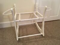 White Painted Rocking Moses Basket Stand