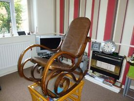 VINTAGE BENTWOOD ROCKING CHAIR WITH BROWN PATCHWORK LEATHER UPHOLSTERY