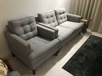 Retro two-seater grey sofa + armchair