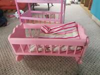 Beautiful hand built wooden baby toy cot painted pink