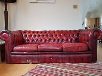 Oxblood Chesterfield Leather Sofa - Used - URGENT