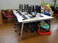 Large computer table with cable management