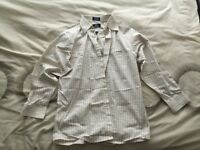 Mens Beige Long Sleeve Checked Formal Shirt 15.5 Regular