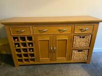 ***SOLD ***Solid Oak Sideboard with Winerack