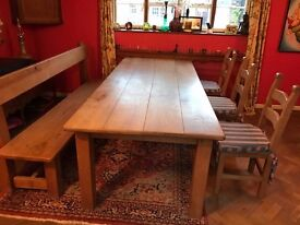 Very Large Solid Oak Kitchen Table ( 8ft x 3ft) with Oak bench & 3 chairs - Chester area