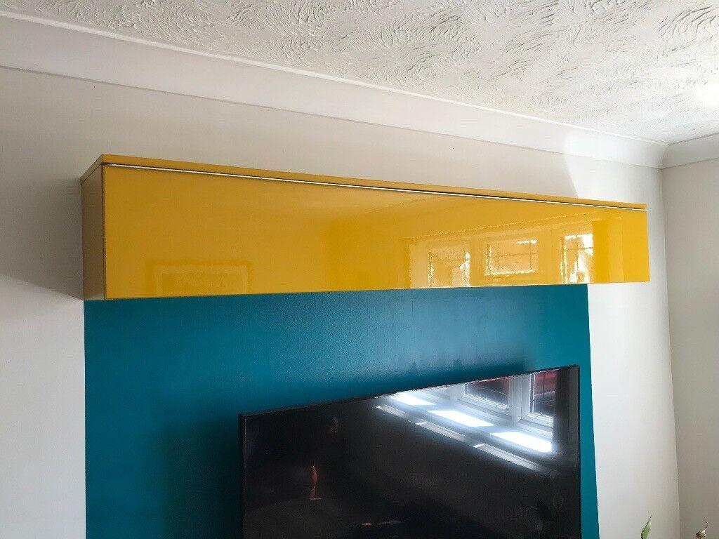Ikea Besta Gloss Yellow Mustard Wall Cabinet Cupboard Box