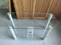 Clear Glass TV Table / 3 x Tiered Glass TV Stand / Coffee Table