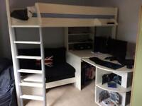 Stompa bed with desk, sofa and pull out single guest bed.