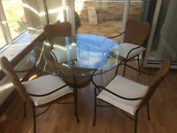Glass and Wicker table and chairs set
