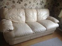 3 seater sofa in cream leather, still in good condition