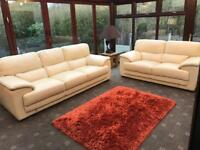 Ivory Leather 3 & 2 Seater Sofas Lower Back Supports £3600 Barker & Stonehouse As New Condition