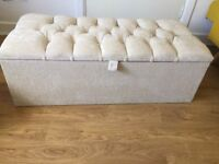 Cream fabric ottoman coffee table/storage/seat