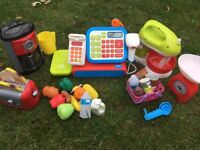 Children's kitchen and shop toys including till