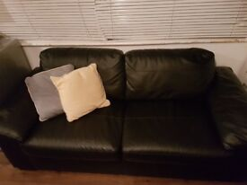 Black leather 2 seater excellent condition