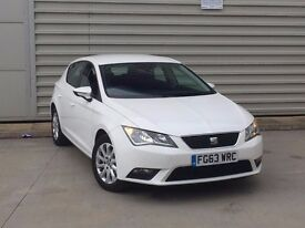 2013 63reg Seat Leon 1.6 TDI CR SE 5dr (start/stop) white diesel***one owner**not golf a3