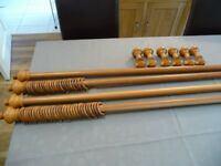 Light Oak Wooden Curtain Poles (2) to fit windows up to 8' wide.