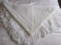 BRAND NEW BEAUTIFUL WHITE CROCHETED BABY SHAWL / BLANKET