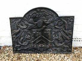Cast iron fireplace back plate and grate