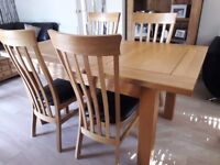 Solid Oak Extendable Dining Table and Chairs from Oak Furniture Land EXCELLENT Condition