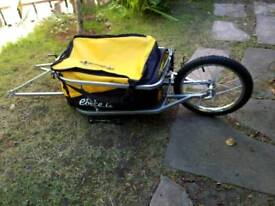Bicycle touring trailer with weight capacity of 35 kilograms.