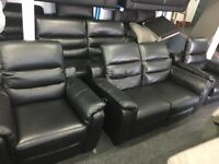 NEW/EX DISPLAY LazBoy Black Leather Recliner 3 Seater + 1 Single Recliner Chair