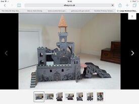 Children's wooden toy medieval castle