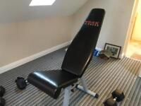 York workout weights bench with multiple position settings