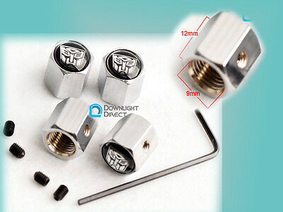 4PCS CAR Silver Decoration Lock LockingTyre TireValveStemCaps