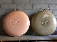Pair Of Vintage Enamel Belling Bed Warmers- delivery available