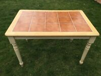 Wooden kitchen dining table with tiled top